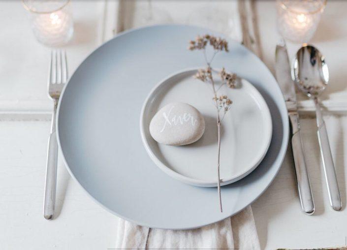Moderne Kalligrafie, Handlettering Ute Schmidt: Gedeck auf Hochzeitstafel